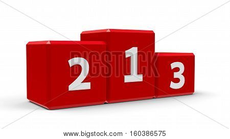 Red podium with three rank places three-dimensional rendering 3D illustration