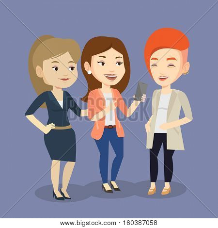 Young caucasian woman showing something to her friends on her smartphone. Three happy female friends looking at smartphone and laughing. Vector flat design illustration. Square layout.