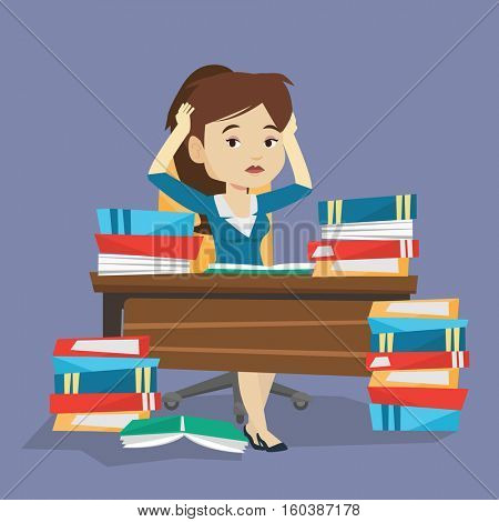 Young stressed student studying with textbooks. Caucasian female student studying hard before exam. Desperate female student studying in the library. Vector flat design illustration. Square layout.