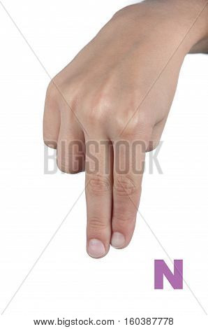 Fingerspelling alphabet. Letter N made by human hand isolated on white background