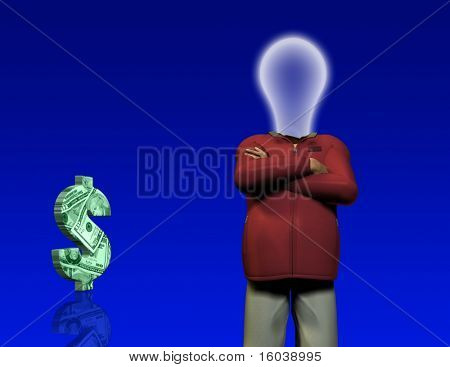 Idea man with $ symbol
