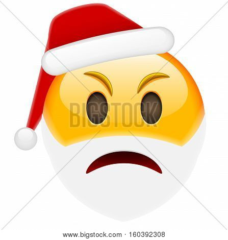 Angry Santa Smile Emoticon For Christmas And New Year