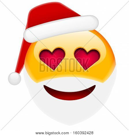 Santa Smile In Love Emoticon For Christmas And New Year
