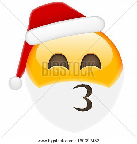 Kissing Santa Smile Emoticon For Christmas And New Year