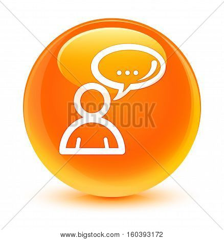 Social Network Icon Glassy Orange Round Button