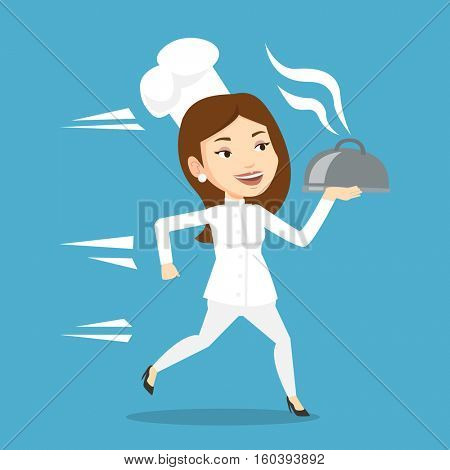 Caucasian female chef cook in a cap and white uniform running. Young cheerful chef cook holding a cloche. Smiling chef cook fast running with a cloche. Vector flat design illustration. Square layout.