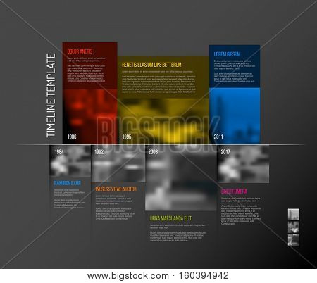 Vector Infographic Company Milestones Timeline Template with big rectangle photo placeholders and shadow effects - dark color version