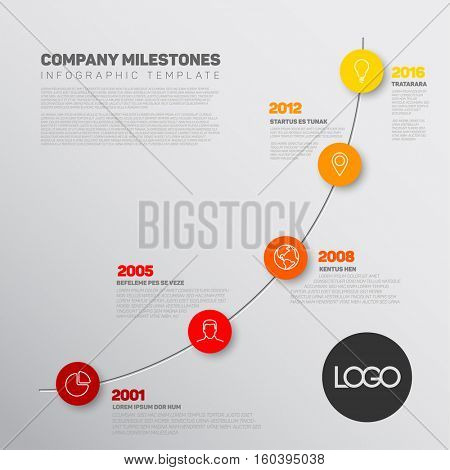 Vector Infographic timeline report template with the biggest milestones, icons, years and color buttons. Business company overview profile.