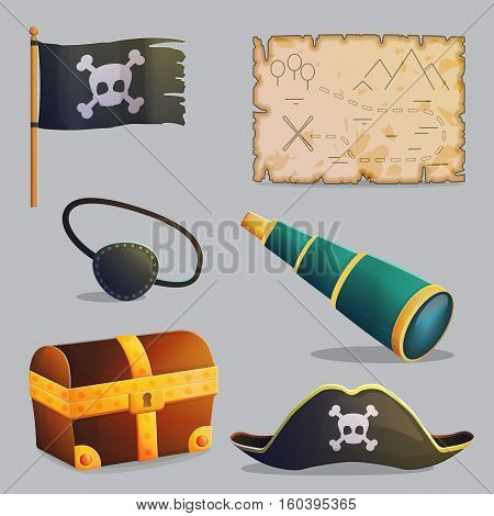 Collection of pirate ship accessories, symbols and navigation items. Cross bones and scull, pirate hat, treasure chest and map. Game and app ui icons.