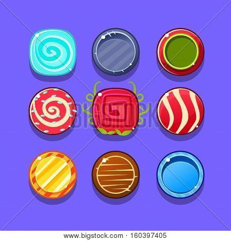 Colorful Hard Candy Flash Game Element Templates Design Set With Colorful Round Sweets For Three In The Row Type Of Video Game. Glossy Bright Color Details For Gaming Constructor Purposes Vector Collection OF Icons.