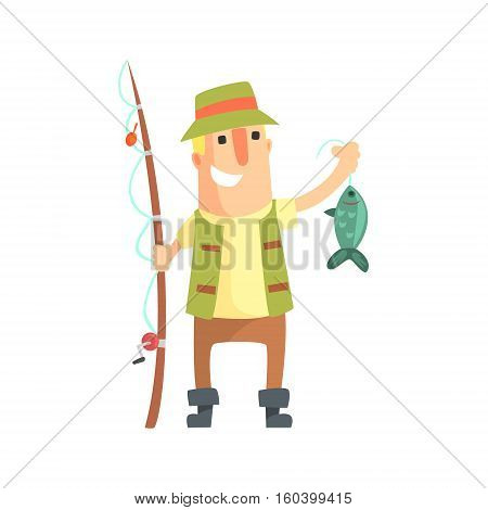 Smiling Amateur Fisherman In Khaki Clothes Holding A Fish He Caught Cartoon Vector Character And His Hobby Illustration. Man On His Leisure Outdoors Fishing Trip Wearing Typical Outfit Vector Funny Drawing.