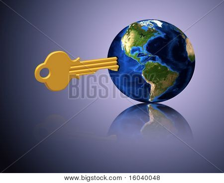 Key inserted in world