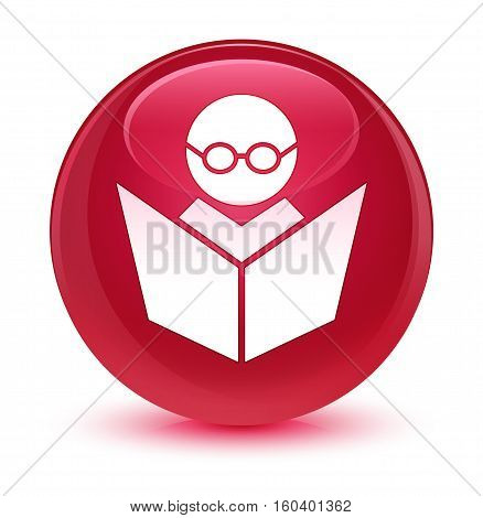 Elearning Icon Glassy Pink Round Button