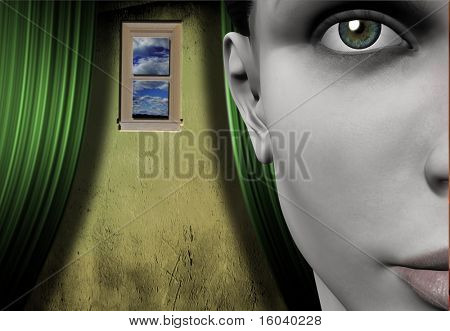 Surreal Image Woman and window