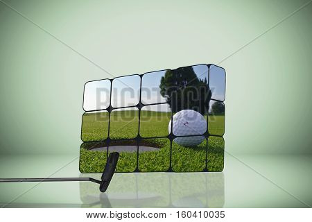 a golf hole and ball in many cubes