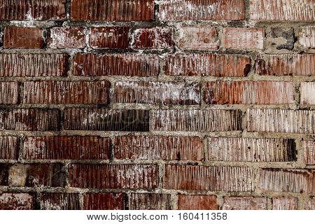 Brickwork. Grunge brick wall. Rough brick wall. Grunge brick background. Stains on the brick
