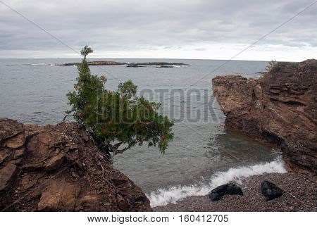 Rocks covered with dwarf trees on the shore of Lake Superior in the Presque Isle Park area, Marquette County, Michigan, USA