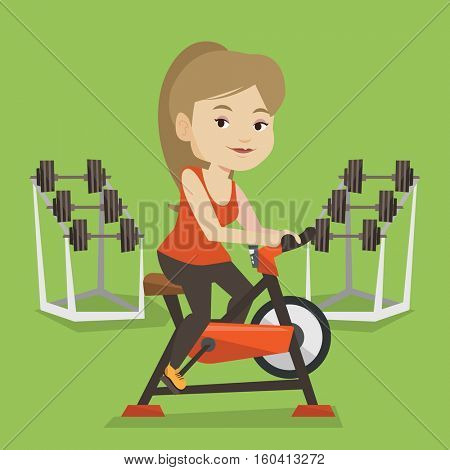 Caucasian woman riding stationary bicycle in the gym. Sporty woman exercising on stationary training bicycle. Young woman training on exercise bicycle. Vector flat design illustration. Square layout.