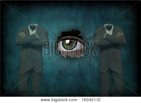 Eye watches 2 headless man made of text