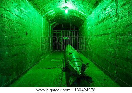 Balaklava, Crimea - September 2016: Marine torpedo - armed submarine. Underground submarine base and weapons during the Cold War in Sevastopol.