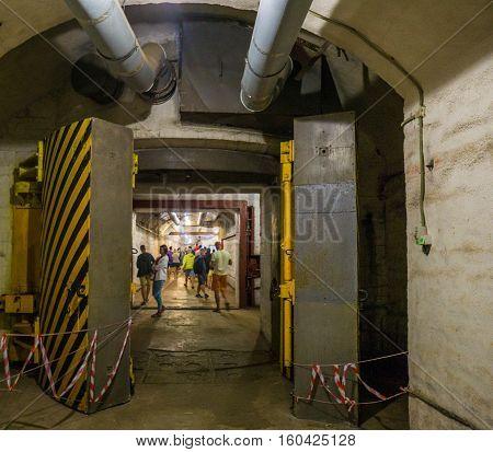 Balaklava, Crimea - September 2016: Secret underground submarine base in Sevastopol a secret military installation during the Cold War.