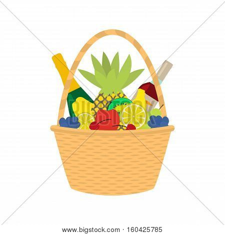 Vector illustration cartoon straw wicker basket with food. Isolated on white background. Flat style. Braided basket with champagne wine and fruit. Braid pottle with products.