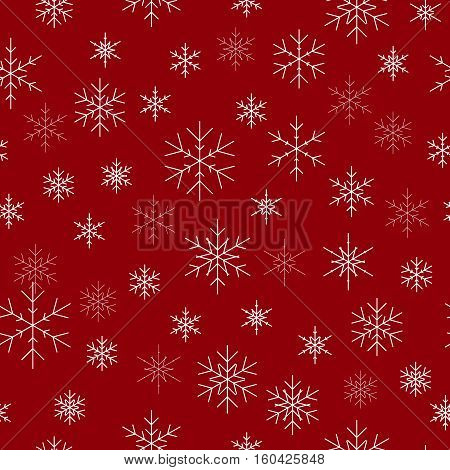 Christmas seamless pattern with snowflakes. Red background for Christmas wallpaper. Red seamless snowflake pattern. Vector illustration. Holiday design for Christmas and New Year fashion prints.