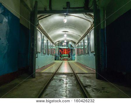 Balaklava, Crimea - September 2016: Former soviet nuclear submarine underground repairing base. Crimea, Russia