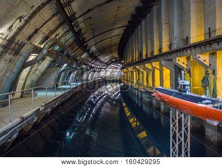 Balaklava, Crimea - September 2016: Former soviet submarine underground base, tonel Balaklava, Russia