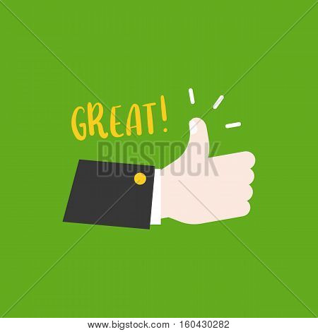 Hand thumps up, great meaning, flat design vector