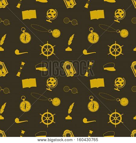 icon set in a nautical style (globe anchor compass and other things)