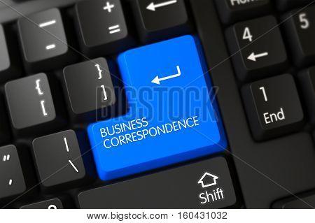 Business Correspondence on Computer Keyboard Background. 3D Illustration.