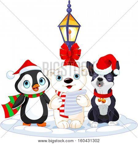 Christmas carolers. Polar bear, penguin and Boston terrier