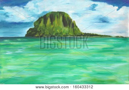 Original oil painting of sea and island on canvas.Colorful ocean with cloudy sky.Modern art background