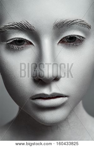 Sculpture Woman. Fashion beauty Model with perfect white Skin