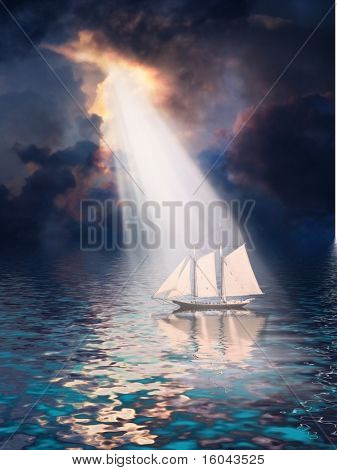 Ship revealed by shaft of light from stormy tropical sky