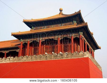 photo macro of ancient buildings in the forbidden city the forbidden city in Beijing (China)
