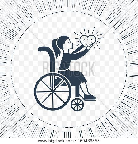 Icon disabled girl with a stroller the concept of life and love people with disabilities
