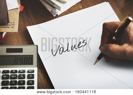 Values Cost Price Vision Strategic Concept