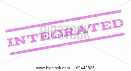 Integrated watermark stamp. Text caption between parallel lines with grunge design style. Rubber seal stamp with unclean texture. Vector violet color ink imprint on a white background.