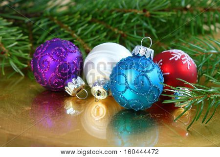 Christmas glass baubles ornaments colorful decoration of table