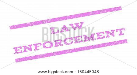 Law Enforcement watermark stamp. Text caption between parallel lines with grunge design style. Rubber seal stamp with unclean texture. Vector violet color ink imprint on a white background.