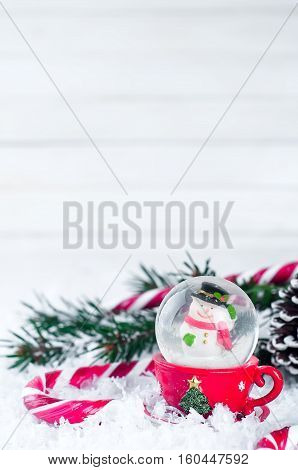 Snow Globe With Snowman On Festive Background
