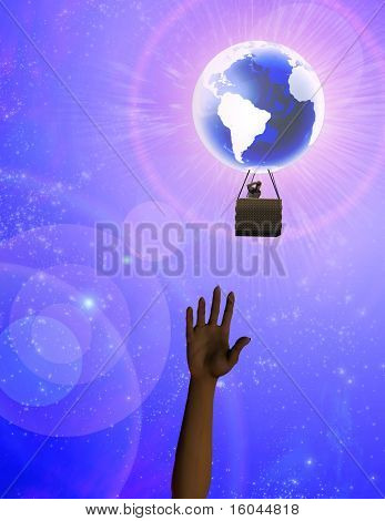 Hands reaches toward earth balloon in sky