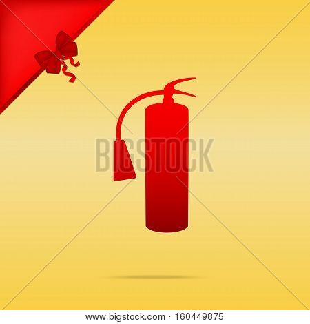 Fire Extinguisher Sign. Cristmas Design Red Icon On Gold Backgro