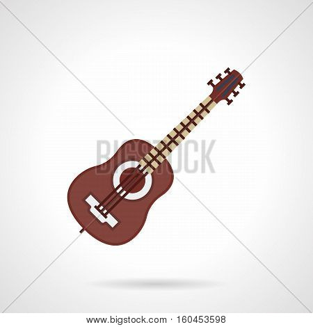 Brown classic six-string guitar. Learning to play musical stringed instruments, distant lessons, online tutorials. Music education symbol. Flat color style vector icon.