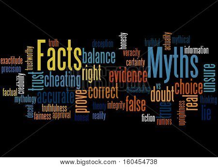 Facts - Myths, Word Cloud Concept 3