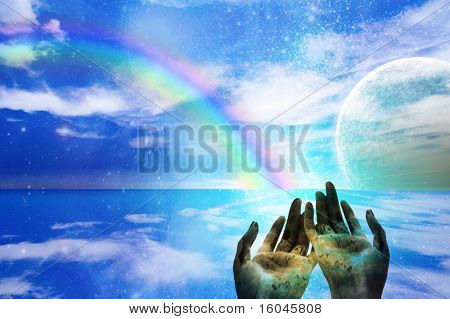 Hands Gesture Toward Alien World