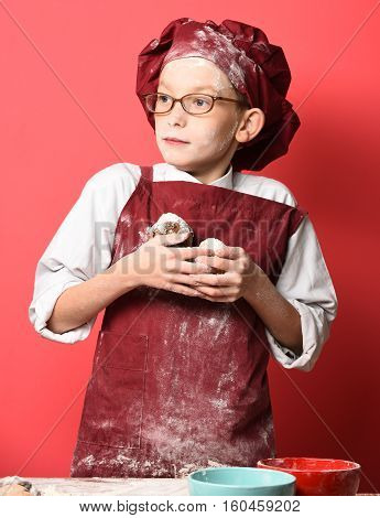 Stained Cute Cook Chef Boy