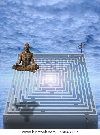 Meditation man and puzzle